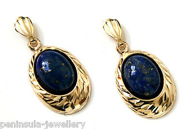 9ct Gold Lapis Lazuli drop earrings Made in UK Gift Boxed