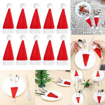20pcs/set Lovely Christmas Portable Fork And Knife Holder Hat Home Decoration