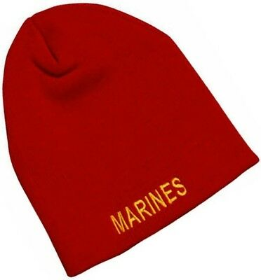 1e65b3d7a3c9a USMC Marine Corps Knit Skull Watch Cap Beanie MARINES Embroidered Red USA