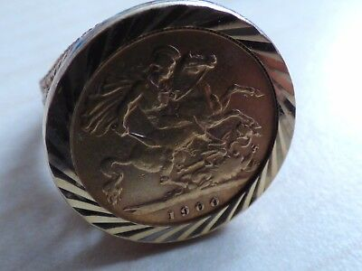 Queen Victoria Gold Half Sovereign Ring 1900 22ct and 9ct UK Size S