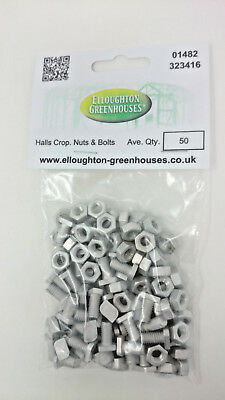 50 HALLS EDEN CROPPED Greenhouse Nuts & Bolts Genuine Halls Eden nuts and bolts