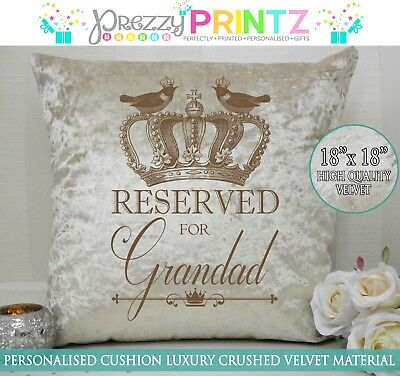 Personalised Cushion Cream Crushed Velvet Gift Reserved For Grandad Christmas