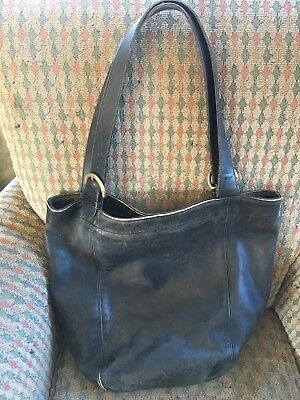 Vintage Coach Bucket Style Black Leather Tote