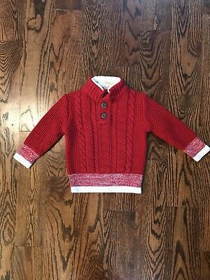 Toddler Boy Sweater Red Christmas Santa Size 2T
