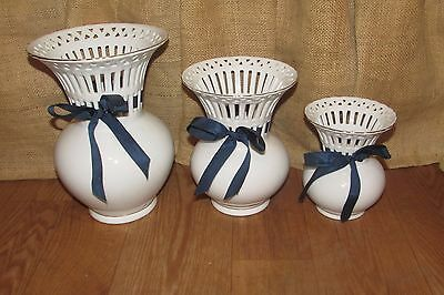 3 Vintage White Porcelain Formalities by Baum Bros Vases with Blue Bow Ties#1007