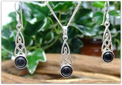 """Celtic Black Onyx Sterling Silver Necklace and Earring Set Gemstone 18"""" chain"""