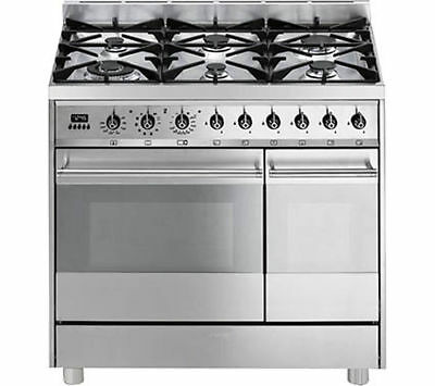 smeg c92gpx8 90cm double oven dual fuel range cooker stainless steel