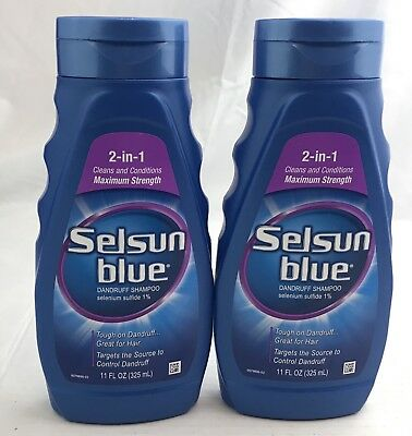 Lot of 2 Selsun Blue 2-in-1 Dandruff Shampoo 11oz Maximum Strength Exp 2/2020