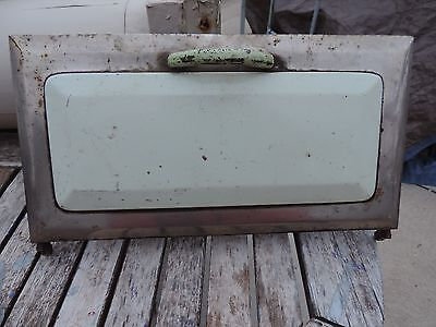 Antique  Cast Iron Porcelain Stove Door Green And Crome Color