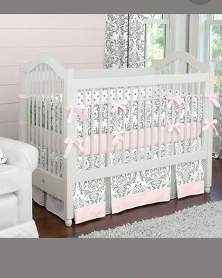 Carousel Designs Pink and Gray Traditions Girl Crib Bedding - EUC - 4 piece set