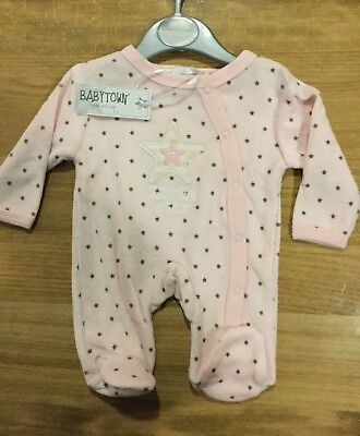 Prem Baby Girl Pink With Tiny Brown Stars baby grow with Little Star detail