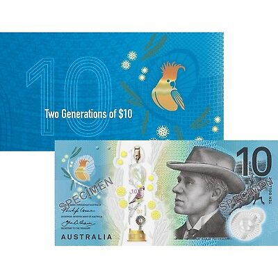 NEW $10 2017 Two Generations Official RBA Folder x 2 UNC Banknotes