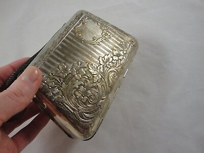Antique Andora Box Purse Sterling German Silver Art Nouveau Floral Vtg Flowers