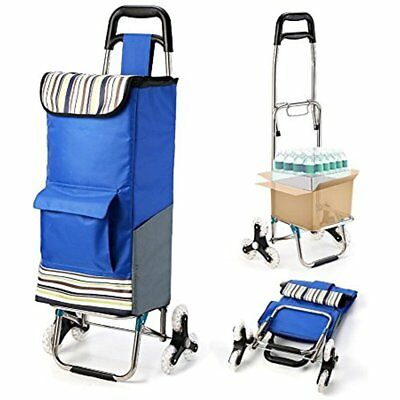 Upgraded Folding Shopping Cart, Stair Climbing Grocery Laundry Utility With