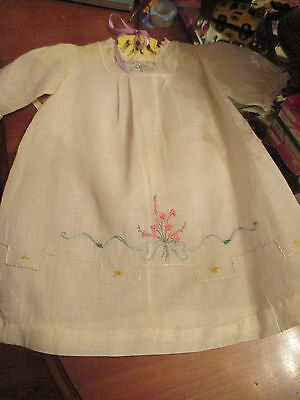 Vintage hand made, hand embroidered baby dress white with lace on sleeves 30s