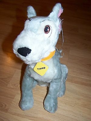 """Disney Lady & The Tramp 12"""" Plush Gray Tramp Puppy Dog Toy Factory with Tags"""