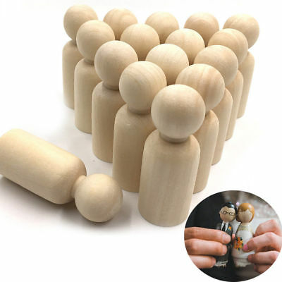 5 PCS Blank Wooden People Peg Dolls Figures Wedding Cake Toppers DIY Craft Toys