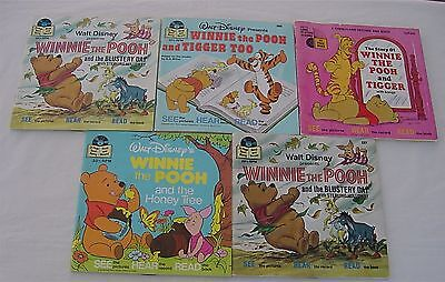 Lot  Winnie the Pooh Read Along Books Records 33 1/3 Story Books Vintage Honey