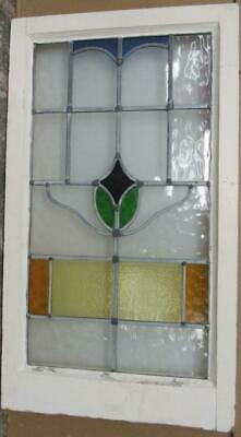 "LARGE OLD ENGLISH LEADED STAINED GLASS WINDOW Abstract Floral 19"" x 33.25"""