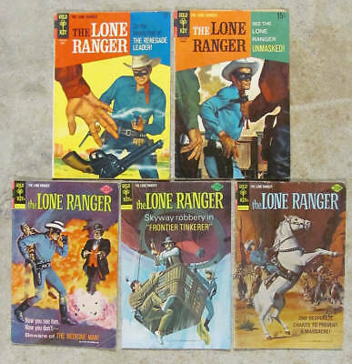 5 Gold Key THE LONE RANGER comic books 1967-1976. Very Good+ average condition