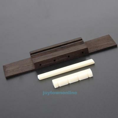 Ivory ABS Nut and Saddle Slotted + 110mm Rosewood Bridge for Ukulele Uke Parts
