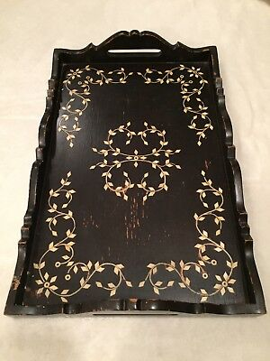 """Antique Wooden Serving Tray Inlay Design Unique Old 17&5/8""""x 11.5"""""""