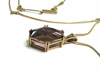 Natural earth-mined 9 carat gold ametrine pendant and handmade chain