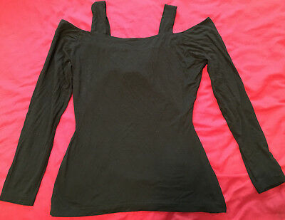 Vintage off shoulder with cross straps black fitted women's top  M 8 preowned