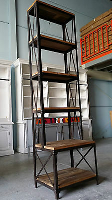 New French Industrial Recycled Vintage Rustic Bookcase Shelf Display (111-235)