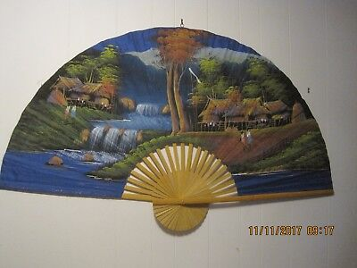 Vintage Japanese Wall Fan!    60 X 36 Inches!    Blue Backround