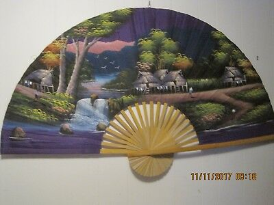 Vintage Japanese Wall Fan!    60 X 36 Inches!   Purple Back Round