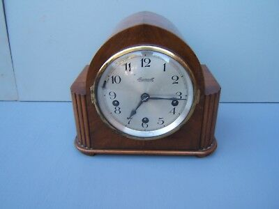Walnut mantel clock vintage dome top Ingersoll Unghans  movement M5