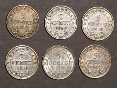 CANADA-NEWFOUNDLAND 1917-1942 5 Cents Silver - 6 Diff. Dates