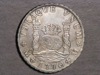 MEXICO 1770MoMF 8 Reales Pillars Silver Crown XF