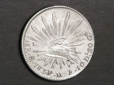 MEXICO 1833GoMJ 8 Reales Silver Crown VF-XF