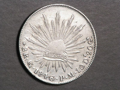MEXICO 1846/5GoPM 8 Reales Silver Crown VF-XF