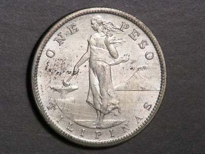 PHILIPPINES 1909S 1 Peso Silver Crown XF