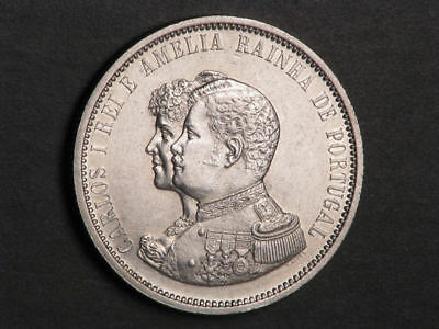 PORTUGAL 1898 1000 Reis India Discovery Silver Crown XF-AU