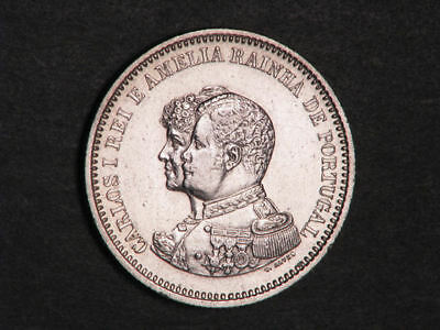 PORTUGAL 1898 200 Reis India Discovery Silver XF-AU