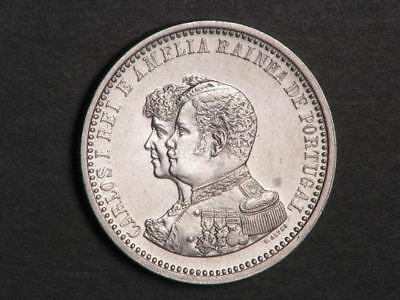 PORTUGAL 1898 500 Reis India Discovery Silver XF-AU