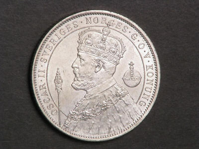 SWEDEN 1897 2 Kronor 25th Anniv. of Reign Silver UNC