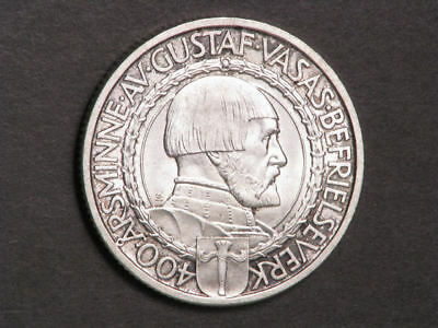 SWEDEN 1921W 2 Kronor 400th Anniv. Liberty Silver UNC