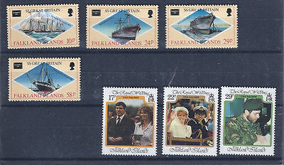 FALKLAND ISLANDS 1986 - mint stamps - postfrisch Nr. 449-452 + 457-459 **