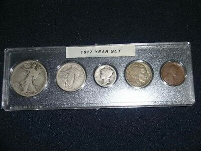 1917 Nice Circulated Year Set - Vintage 5-Coin Set