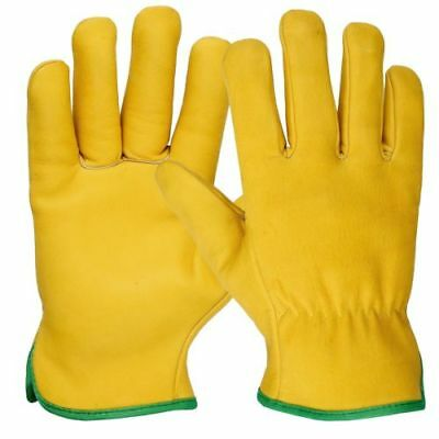 10 Pairs Of Fleece Lined Leather Lorry Drivers Work Gloves Safety Diy Quality
