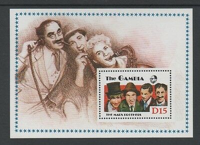 GAMBIA 1988 ENTERTAINERS. MARX BROTHERS MIN SHEET (MS824a) *MNH*