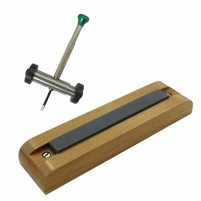 WATCHMAKER Tool Screwdriver Sharpening Stone With Wooden Base Guide Watch Repair