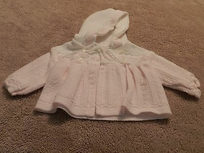 Vintage Knit Baby Toddler Infant Pink Hooded Sweater 100% Acrylic