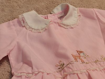 Vintage Toddler Girl Baby Clothing - Pink Top with Cute Animated Front Side