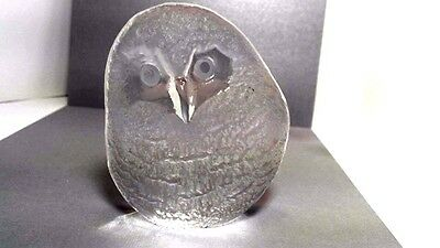 Owl Lead Crystal Paperweight Art Glass Signed Mats Jonasson Hand Made